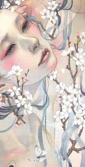 Miho Hirano art, woman and flowers.