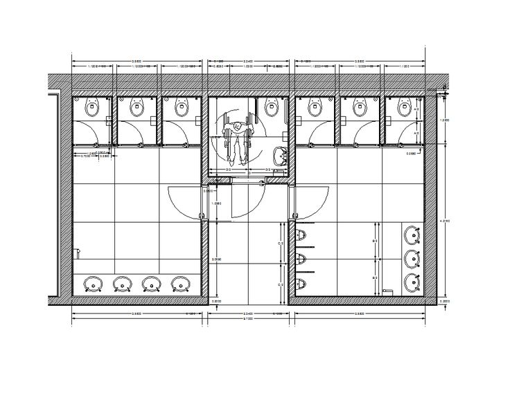 Photo On FREE AutoCAD of Female and Male Toilets with dimensions for your CAD design