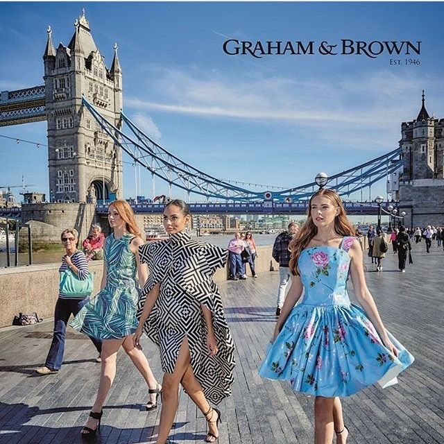 To celebrate national wallpaper week we teamed up with Graham and Brown wall coverings to do a photo shoot at our most famous landmarks in London. The dresses were created using wallpaper!