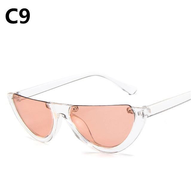 ec647cb041 Cool Trendy Half Frame Rimless CatEye Sunglasses Women 2018 Fashion Clear  Brand Designer Sun glasses For Female Oculos de sol
