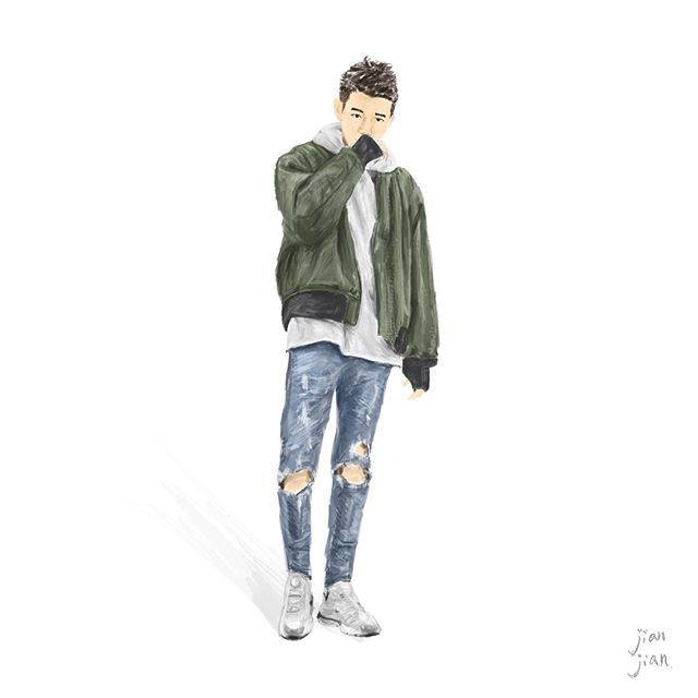 Street snap illustration   By @polchang   #ootd #artwork #illustrator #instagood #instalife #life #man #mensfashion #wear #oversize #plainme_snap #skinnyjeans #denim #ma1 #hoodie #gray #jaket #shoses #fashion #jianjian #taiwan #outfit