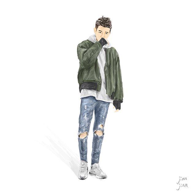 Street snap illustration   By @polchang   #ootd #artwork #illustrator #instagood #instalife #life #man #mensfashion #wear #oversize #plainme_snap #skinnyjeans #denim #ma1 #hoodie #gray #jaket #shoses #fashion #jianjian #taiwan #outfit