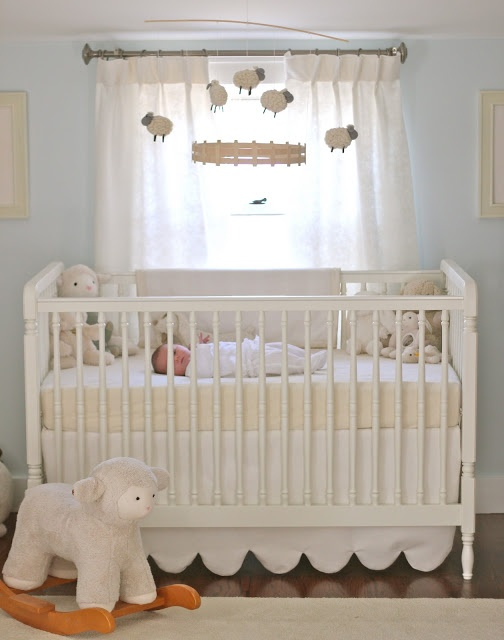 Jenny Steffens Hobick: Emma's Nursery | Pale Blue & Cream Lambs & Sheep
