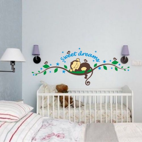 Cheap Wall Decals   Sleep Monkey Removable Vinyl Wall Decal Stickers Art  Muralu2026