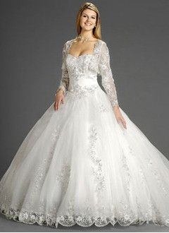 Ball-Gown Strapless Sweetheart Chapel Train Organza Wedding Dress With Lace Beading