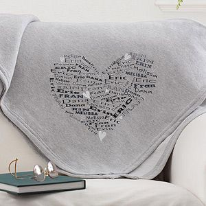 """Best gift idea ever! It's the """"Her Heart of Love"""" Personalized Sweatshirt Blanket from PMall - you can personalize it with all her kids and/or grandkids' names - perfect custom Christmas gift idea!"""