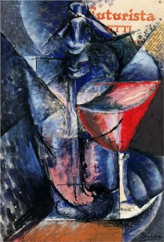 Glass and Syphon (1913) by Italian artist Umberto Boccioni (1882-1916). This oil on canvas was created in Milan and is held in a private collection.
