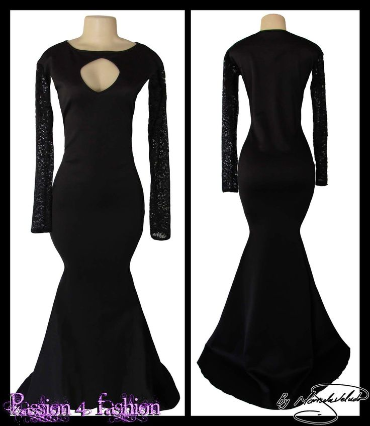 black soft mermaid matric farewell dress with sheer lace sleeves and a diamond shaped cleavage opening with a train. #mariselaveludo #passion4fashion #promdress #eveningdress #matric #matricdance #matricdress #softmermaid #blackdress