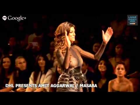 Gorgeous Sushmita Sen, Miss Universe 1994, sashayed the ramp as a show stopper in a stripped fitted nude and black gown.