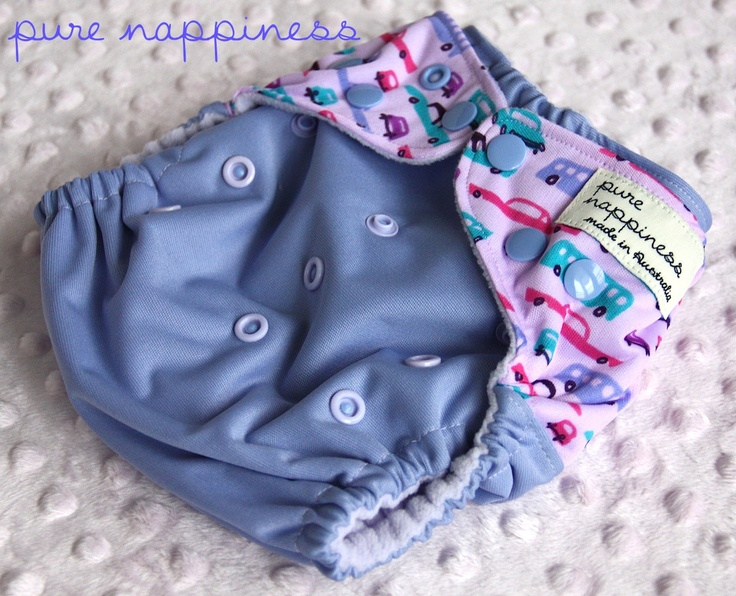 One-size-fits-most cloth nappy- Purple Retro Cars. $18.00, via Etsy.
