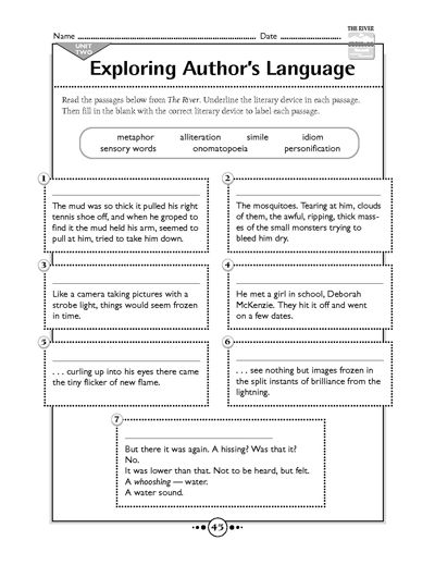 This free printable worksheet from Scholastic focuses on identifying different literary devices within a passage.