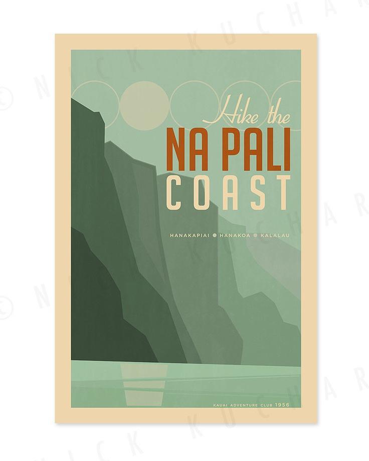 Hike the Na Pali Coast - 12x18 Retro Hawaii Print. Everything is Jake
