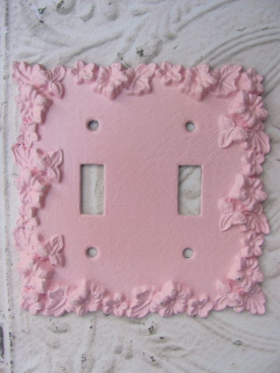 Lightswitch Plate Pink Shabby Chic Nursery Girls Room Double Lightswitch Cover on Etsy, $11.00