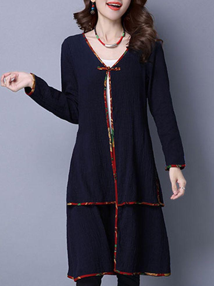 Chinese Style Long Sleeves V-neck Long Blouses For Women
