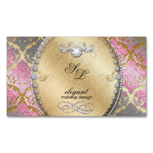 55 best makeup business cards images on pinterest makeup business fashion jewelry makeup artist damask bling glitter business card template 4 2895 click for reheart Choice Image