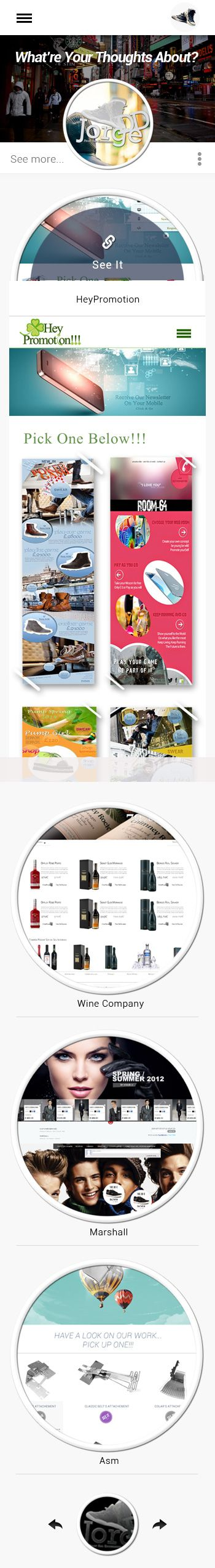 Portfolio Web Site - Mobile Version Product Page  Work of: UX/UI Developement and Front-End Developement Technologies used: HTML5 / CSS3 / AngularJS