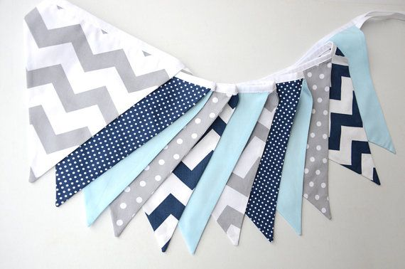 Baby Blue Navy Grey Gray Chevron spots by BillieBellaBunting