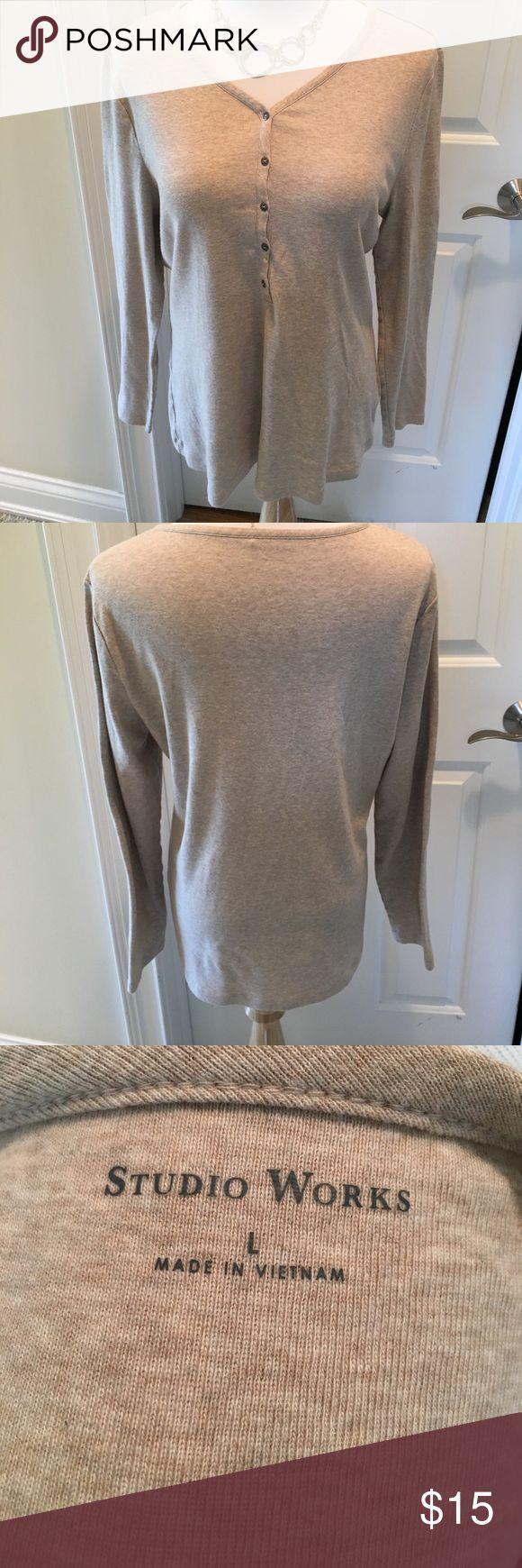 Studio Works Long Sleeved V Neck Henley Shirt 👚 Long sleeved v neck cotton Henley shirt. Button front.  Metal buttons.  Heather khaki color.  Full cut. EUC. Nonsmoking house. Studio Works Tops