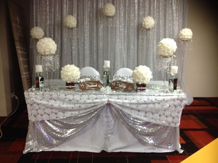 Lace table runner, crystal drape, sequin backdrops, silver & white