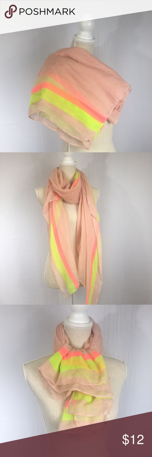 Lovely Pink and Neon Scarf Very large scarf from a boutique in Portland, in pale pink with two stripes in neon green and pink. Has several runs but they can't really be seen once the scarf is being worn. Accessories Scarves & Wraps