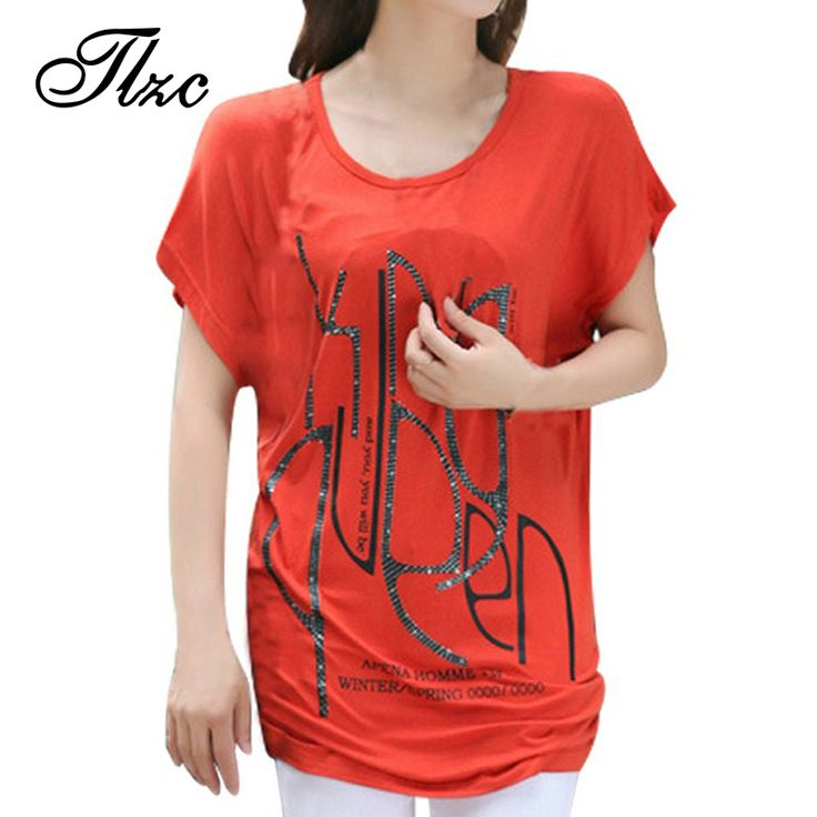 Woman Summer Casual T-shirt Black / White / Red Plus Size L-4XL Batwing Sleeve Long Style Lady Fashion Tees