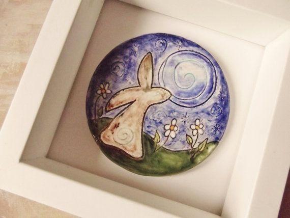 Ceramic Pottery Moongazing Hare Art Tile - Goddess - Spring - Ostara
