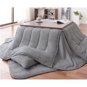 こたつ布団2点セット: 寝具・インテリア・生活雑貨のおすすめ! 省スペース マイクロファイバーこたつ布団2点セット すっきりタイプ 正方形 シルバーアッシュ
