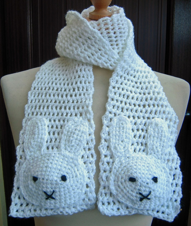 Image detail for -Super Cute White Crochet Miffy Scarf Ready by twixtseaandpine