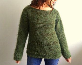 Suéter verde, suéter verde, suéter verde, suéter de las lanas, suéter grueso, suéter verde oliva, regalo, envío rápido, listo para SHİP