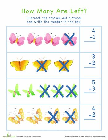 subtraction for visual learners easter 5 butterfly worksheets and math. Black Bedroom Furniture Sets. Home Design Ideas