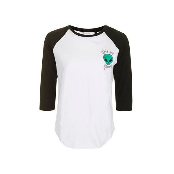 Space Alien Raglan Tee by Tee & Cake (445 ZAR) ❤ liked on Polyvore featuring tops, t-shirts, white, white tee, sleeve t shirt, raglan sleeve top, white top and white t shirt