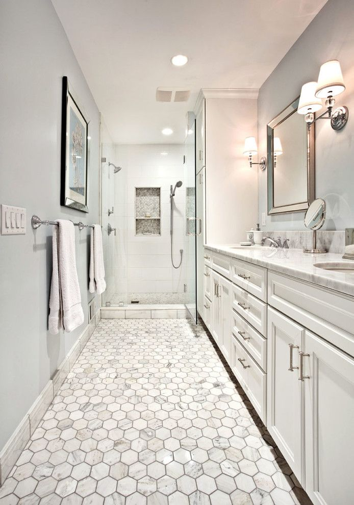 Tiles design for hall bathroom traditional with white bathroom dual shower heads two sinks