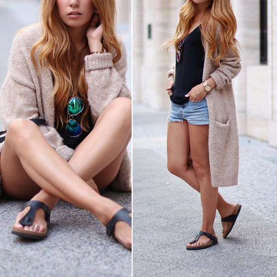 & Other Stories Wool Cardigan, Mirrored Sunglasses, Mih Jeans Denim Shorts, Zara Black Top, Birkenstock Gizeh Sandals