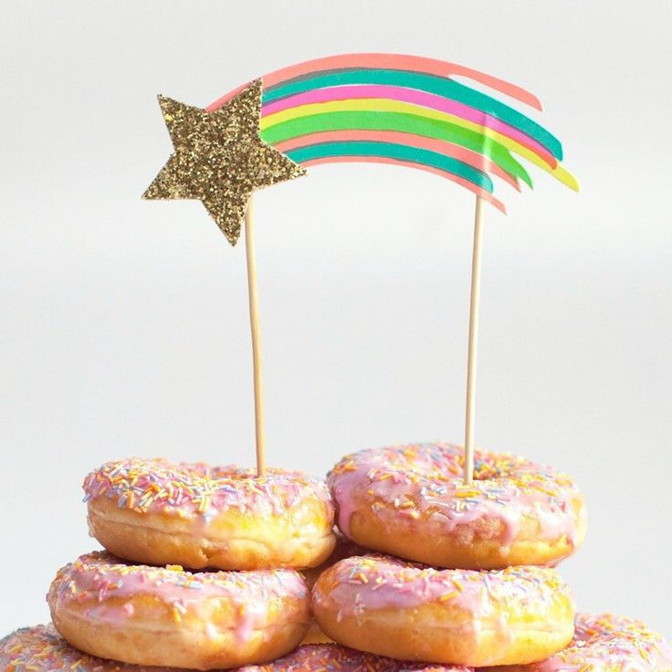 A personal favorite from my Etsy shop https://www.etsy.com/ca/listing/522184632/rainbow-shooting-star-cake-topper