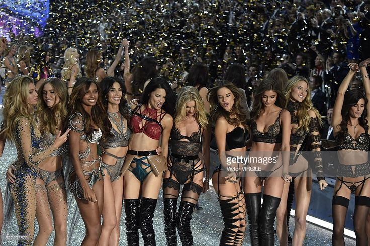 Josephine Skriver, Jasmine Tookes, Lily Aldridge, Adriana Lima, Elsa Hosk, Alessandra Ambrosio, Taylor Hill, Martha Hunt, Sara Sampaio, Lais Ribeiro, Gigi Hadid, Kendall Jenner, Liu Wen and Sui He on the runway during the 2016 Victoria's Secret Fashion Show at Le Grand Palais on November 30, 2016 in Paris, France.