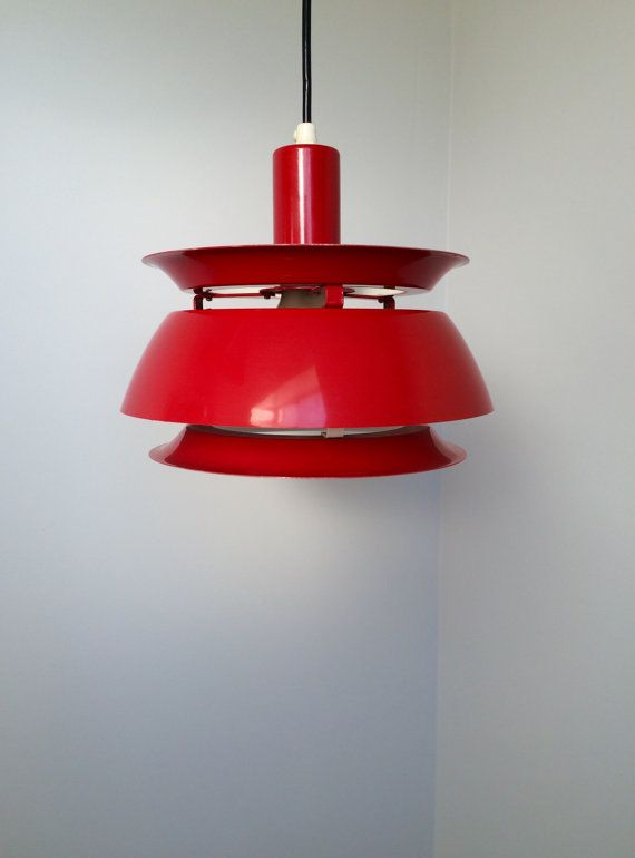 Vitrika - Beautiful Red Pendant - Danish design from 1970s - Danish Mid Century Lamp