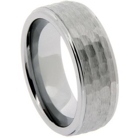Hammered Tungsten Ring With Step Down Edges and Polished Edges - NorthernRoyal