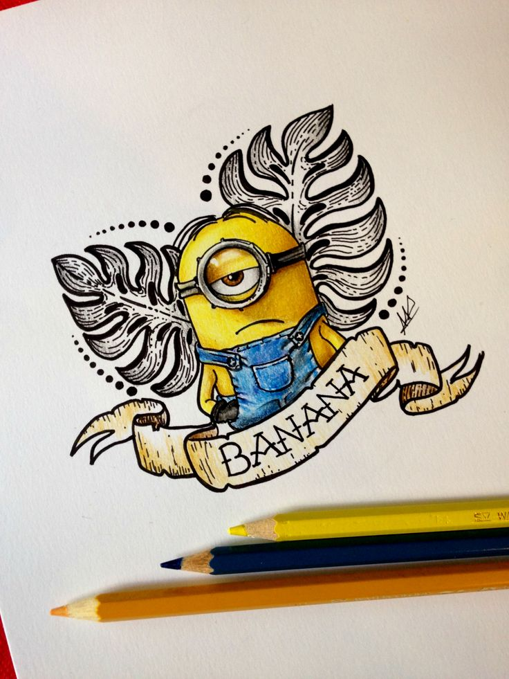 Antonietta Arnone Arts drawing. More to www.antoniettaarnonearts.it or Facebook page! #minions #banana #DespicableMe #tattoo #colored #animation
