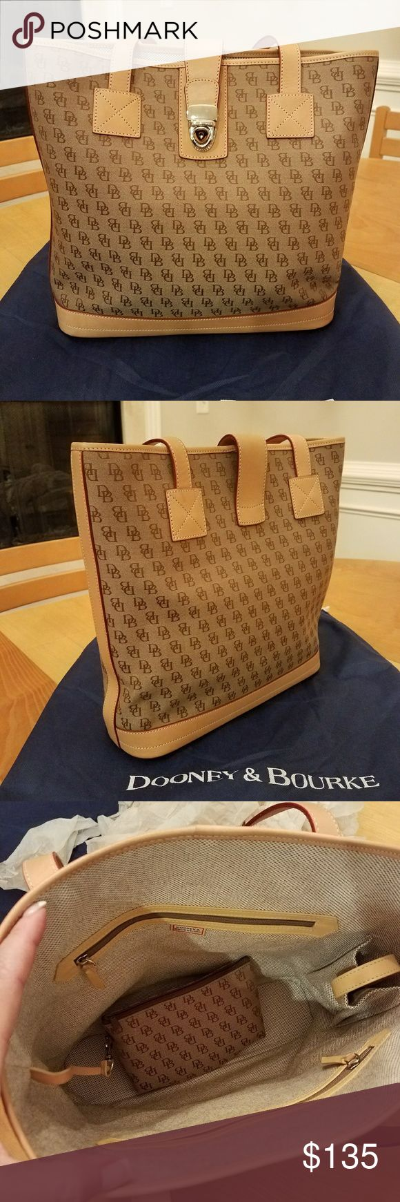 Dooney & Bourke Tote Bag This D&B bag is in like new condition as it was only worn a couple of times. Canvas body with  vachetta trim.  Comes with detachable canvas cosmetic bag. Has front press lock closure and feet on the bottom. Inside boasts a front and back zipper pocket as well as a cell phone pocket with velcro closure.  Light brown canvas body with tan leather trim. Comes with original D&B dust bag. Comes from smoke free environment.  Guaranteed 100% authentic. Dooney & Bourke Bags…