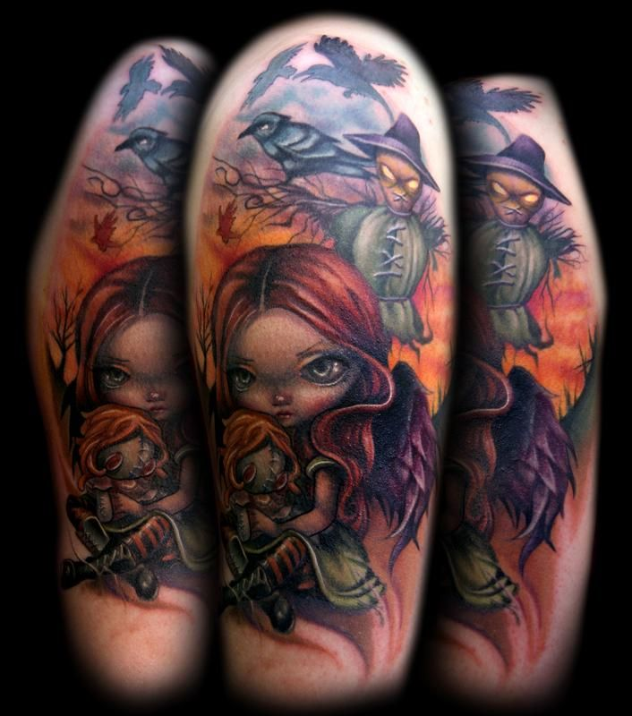 Girl, Doll, and Scarecrow tattoo by Kelly Doty.Tattoo Ideas, Girls Tattoo, Kelly Doty, Awesome Tattoosinkspir, Dolls Tattoo, Tattoo Artists, Tattoo Colors, Scarecrows Tattoo, Body Art