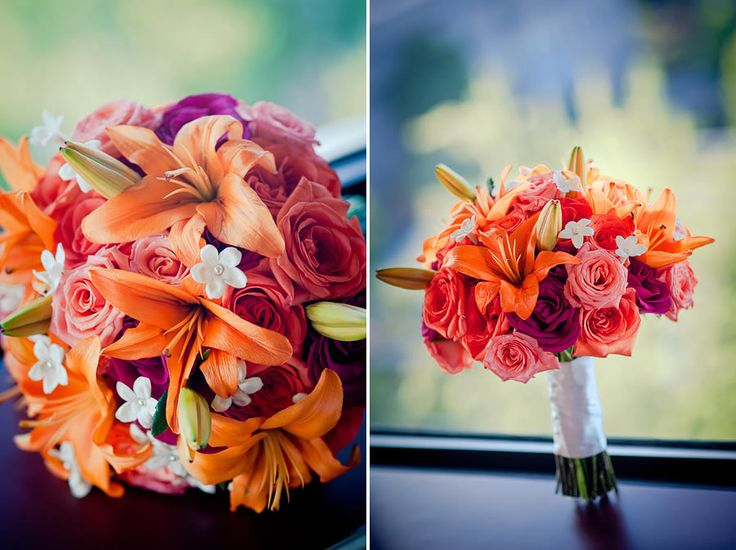 Pretty Flowers And Perfect Bouquet For Sunset Wedding Theme