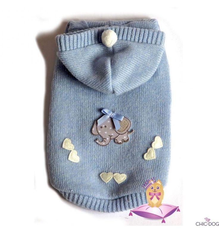 Baby Boy Pull by Babydog Botique light blue #dog hoodie, luxurious and elegant made with fine yarns | Maglione per cani con cappuccio, elegante e pregiato #Chic4Dog #madeinitaly