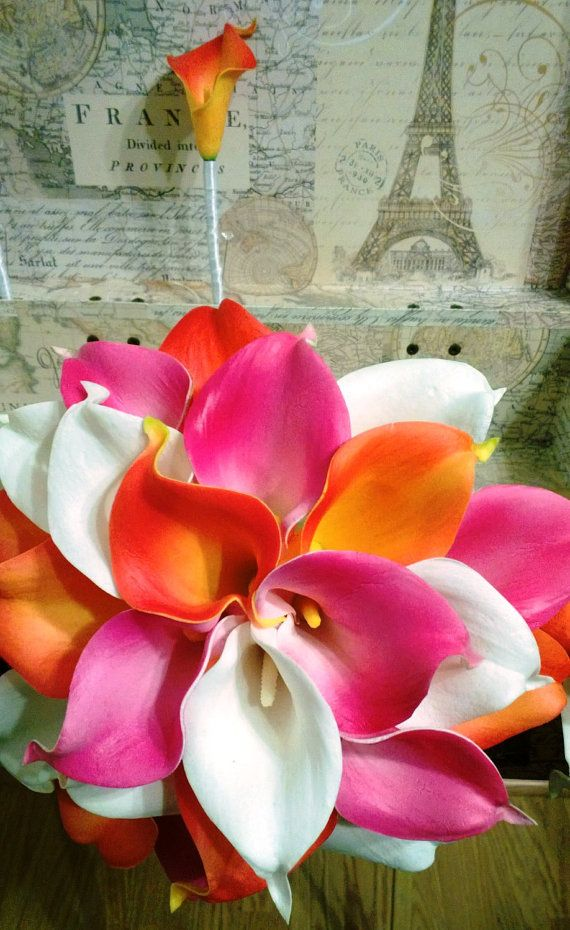 Real Touch Orange Hot Pink White Calla Lily Wedding Bouquet 2 Piece Set, Orange Hot Pink Bouquet, Calla Lily Bouquet Bea