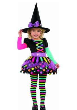 Miss Matched Witch Childs Costume This Miss Matched Witch costume its anything but wicked it s a fun neon coloured Halloween costume for little girls