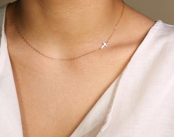 Tiny Rose Gold Cross Necklace Off Side Cross by MarianaEncheva