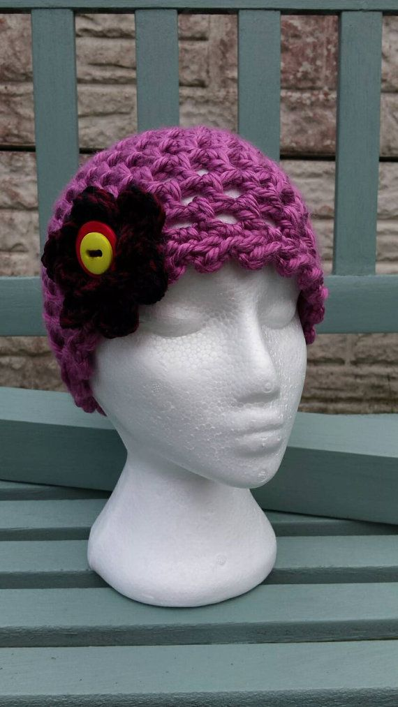**New Item** ladies beanie hat with flower and button detail https://www.etsy.com/uk/listing/245630038/ladies-beanie-hat-in-dusky-pink-finished #ladiesbeanie #hat #winterhat #ladieshat #woollyhat #slouchyhat #pinkhat #christmasgift #giftsforher