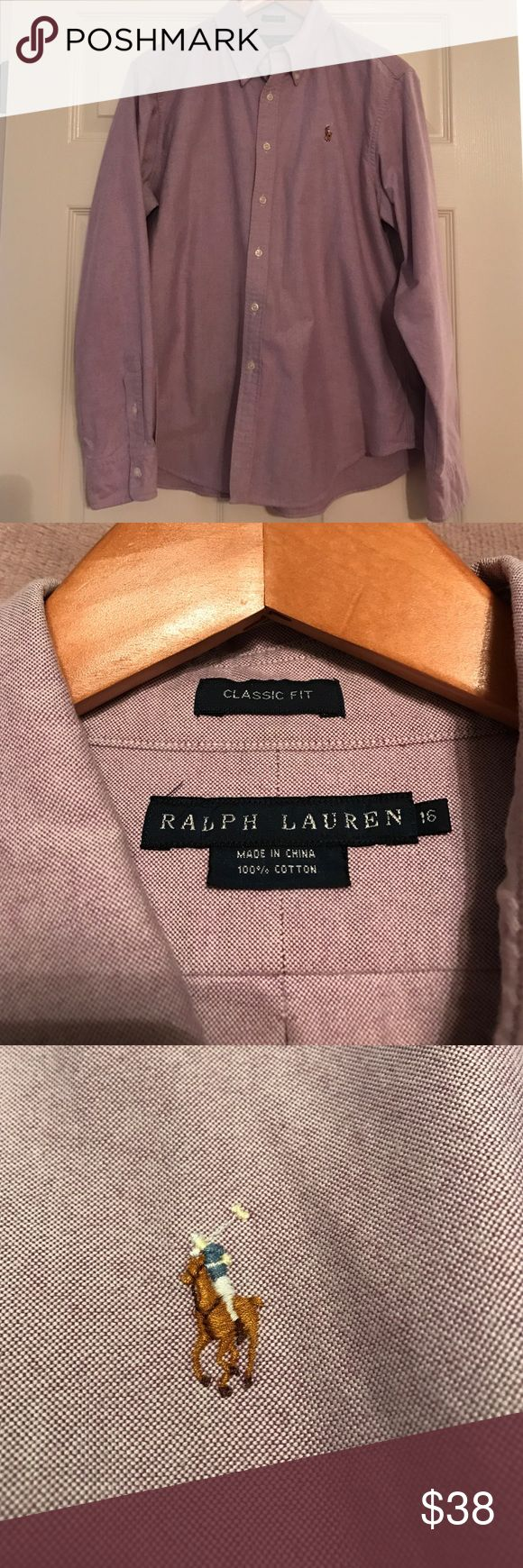 Ralph Lauren Oxford - light purple Light purple Ralph Lauren oxford shirt, women's size 16. Excellent condition. Let me know if you have any questions! Ralph Lauren Tops Button Down Shirts