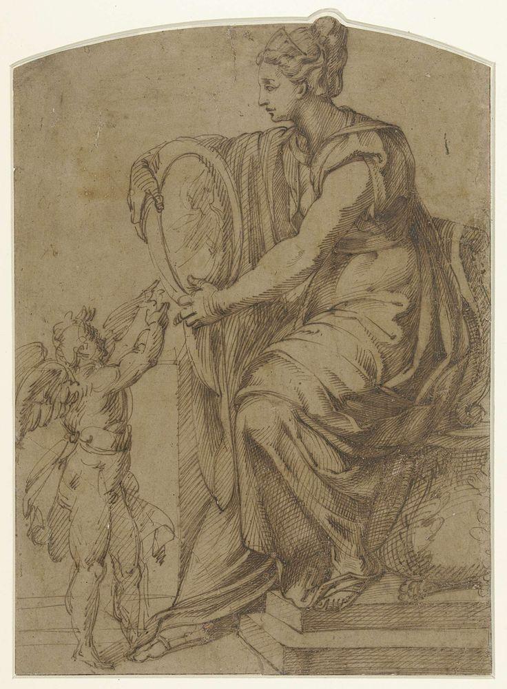 Bartolommeo Passarotti | Vrouw met een spiegel op een troon zittend (Prudentia?), Bartolommeo Passarotti, 1538 - 1592 |