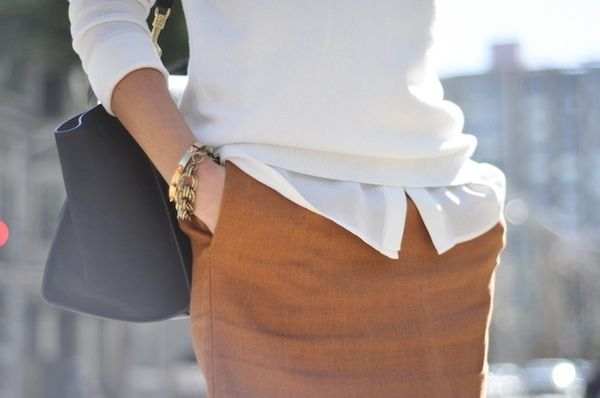 For the office. White layered on white with camel.