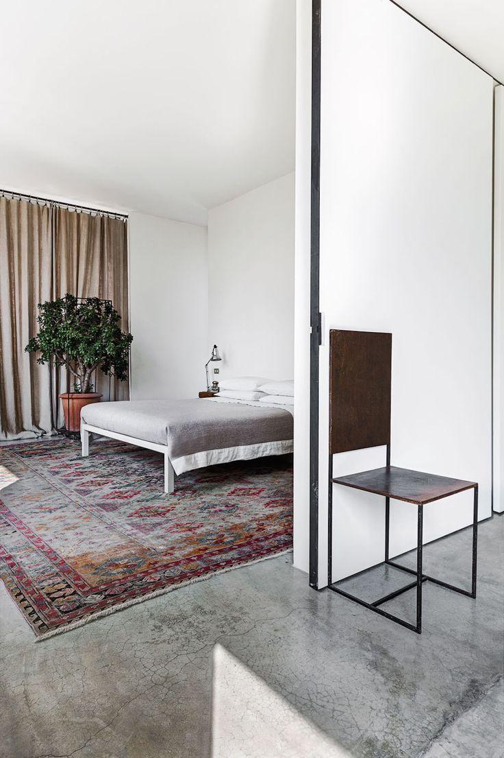 Oracle Fox, Sunday Sanctuary, prerequisites, industrial interior, green, cement, large, interior plants, giant cactus, mid century interior, staircase, bedroom